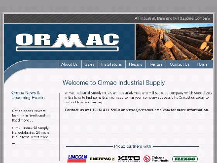 Ormac Industrial Supply Inc (506-432-5960) - Website thumbnail - http://www.ormacindustrial.com