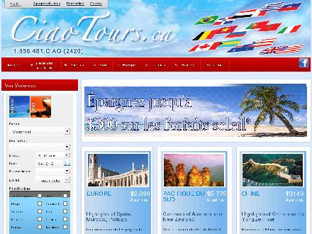 Voyages Vendome (514-481-0424) - Website thumbnail - http://www.ciaotours.ca