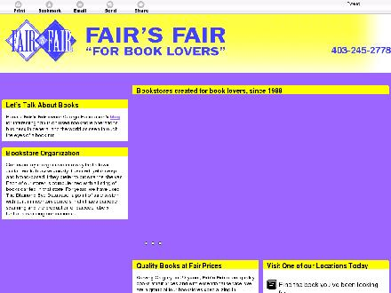 Fair's Fair (For Book Lovers) Inc (403-245-2778) - Onglet de site Web - http://fairsfair.org