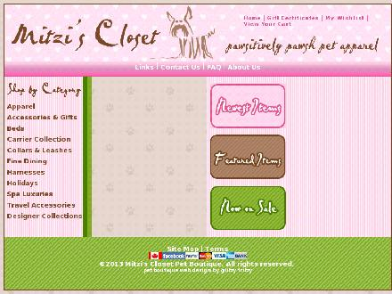 Mitzi's Closet Pet Boutique (867-456-2900) - Website thumbnail - http://www.mitzisclosetpetboutique.com