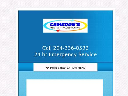Cameron's Heating & Air Conditioning Ltd (204-336-0532) - Onglet de site Web - http://www.camerons-hvac.ca