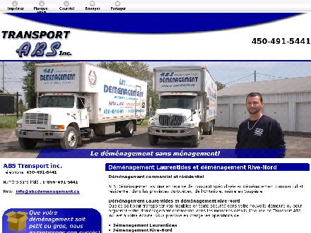 A B S Transport Inc (450-232-2920) - Onglet de site Web - http://www.absdemenagement.ca