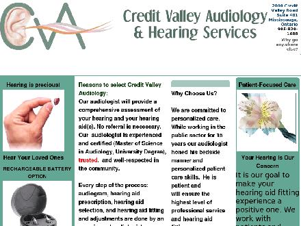 Credit Valley Audiology (905-820-1688) - Website thumbnail - http://www.creditvalleyaudiology.ca