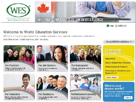 World Education Services (416-972-0070) - Onglet de site Web - http://www.wes.org/ca