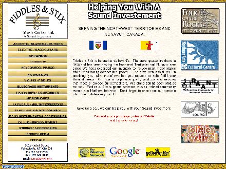 Fiddles & Stix Music Centre Ltd (867-669-9993) - Onglet de site Web - http://www.fiddlesandstix.yk.com
