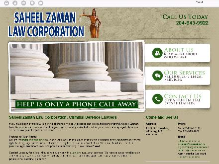 Saheel Zaman Law Corporation (204-943-9922) - Onglet de site Web - http://zamanlaw.ca/