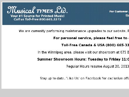 Musical Tymes Ltd (204-953-2665) - Website thumbnail - http://www.musicaltymes.ca