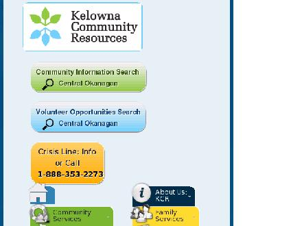 Kelowna Community Resources (250-763-8008) - Onglet de site Web - http://www.kcr.ca
