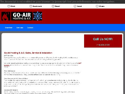 Go-Air Heating & A/C (416-908-5728) - Onglet de site Web - http://go-air.co