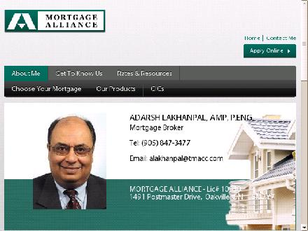 Mortgage Alliance Company Of Canada (905-847-3477) - Onglet de site Web - http://www.alakhanpal.com
