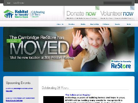 ReStore Habitat For Humanity Waterloo Region (519-747-0664) - Onglet de site Web - http://www.hfhwr.ca