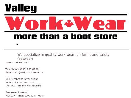 Valley Workwear (613-735-8290) - Website thumbnail - http://www.valleyworkwear.ca