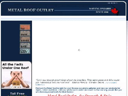 Metal Roof Outlet Inc (1-800-366-0620) - Website thumbnail - http://www.metalroofoutlet.ca