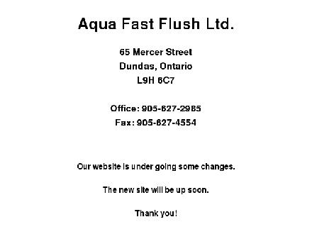 Aqua Fast Flush Ltd (905-577-6941) - Onglet de site Web - http://www.aquafastflush.com