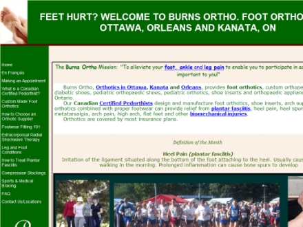 Burns Ortho-Medical (613-932-3139) - Onglet de site Web - http://www.burnsortho.net