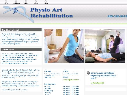 Physio Art Rehabilitation (905-528-9916) - Onglet de site Web - http://www.physioart.ca