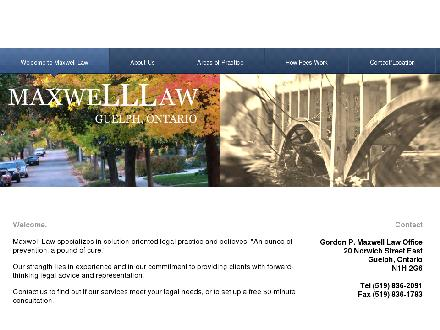 Maxwell Gordon P Law Ofc (519-836-2091) - Onglet de site Web - http://www.maxwelllaw.ca