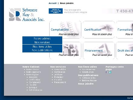Sylvestre Roy &amp; Associ&eacute;s Inc (450-477-8980) - Onglet de site Web - http://www.sylvestreroy.ca