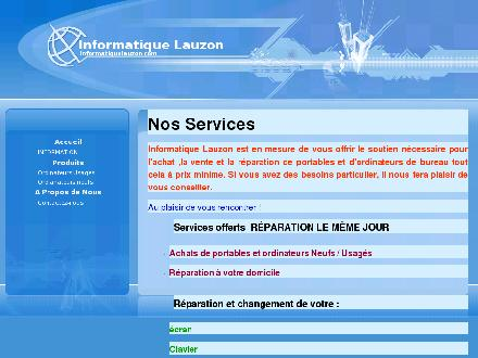 Informatique Lauzon Inc (418-833-2275) - Onglet de site Web - http://www.informatiquelauzon.com