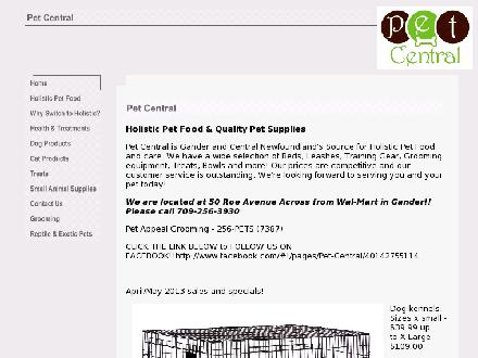 Pet Central Holistic Pet Foods (709-256-2263) - Onglet de site Web - http://www.petcentralgander.com