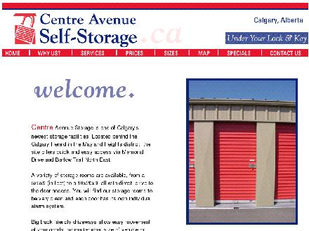 Centre Avenue Self-Storage (403-203-2511) - Onglet de site Web - http://www.castorage.ca