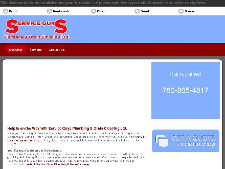 Service Guys Plumbing &amp; Drain Cleaning Ltd (780-740-0167) - Onglet de site Web - http://serviceguys.ca/