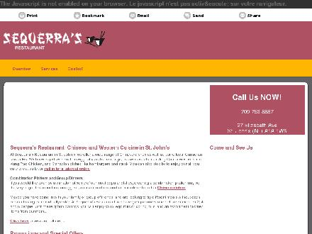 Sequerra's Restaurant (709-753-8887) - Onglet de site Web - http://sequerrarestaurant.ca/