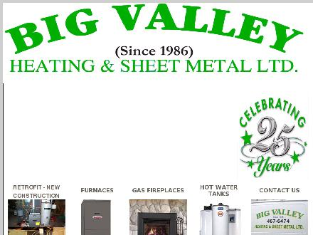 Big Valley Heating & Sheet Metal Ltd (604-467-6474) - Website thumbnail - http://www.bigvalleyheating.ca