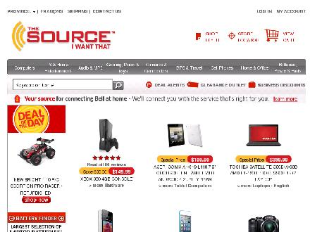 The Source - Saskatoon (306-384-7704) - Onglet de site Web - http://www.thesource.ca/