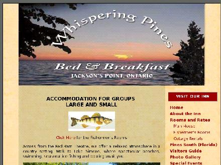 Whispering Pines Bed & Breakfast (905-722-3998) - Website thumbnail - http://www.whisperinginn.com
