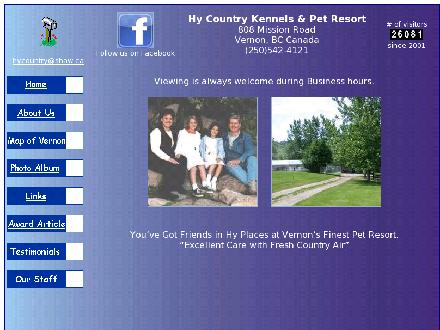 HY Country Pet Resort (250-542-4121) - Onglet de site Web - http://www.hycountrykennels.com