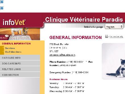 Clinique Vétérinaire Paradis Inc. (418-690-0064) - Website thumbnail - http://www.paradis.infovet.ca
