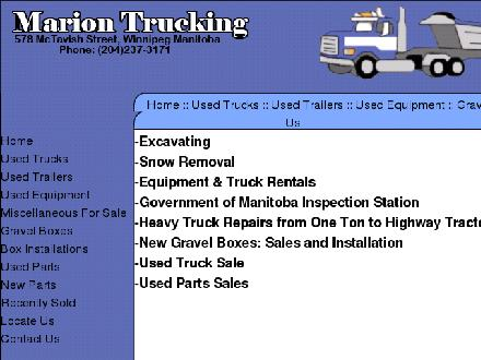 Marion Trucking Ltd (204-237-3171) - Website thumbnail - http://www.mariontrucking.com