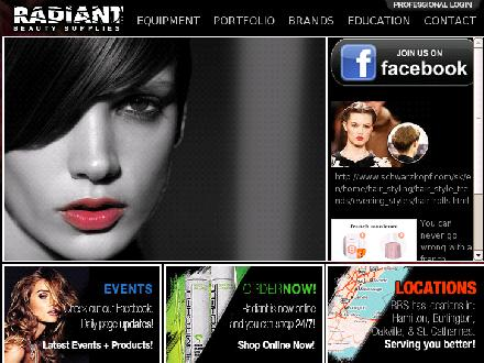 Radiant Beauty Supplies (1-866-220-6127) - Onglet de site Web - http://www.radiantbeautysupplies.com