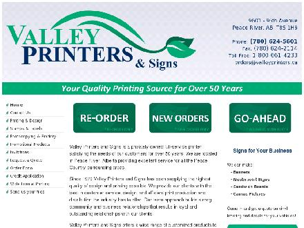Valley Printers and Signs Ltd (780-624-5601) - Website thumbnail - http://www.valleyprinters.ca