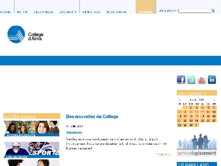 Coll&egrave;ge D'Alma (418-668-2387) - Onglet de site Web - http://www.calma.qc.ca