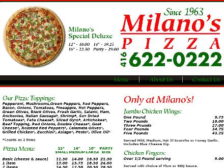 Milano's Pizza Inc (416-622-0222) - Website thumbnail - http://www.milanos-pizza.ca
