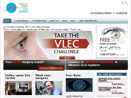 Valley Laser Eye Centre Inc (1-888-977-3937) - Website thumbnail - http://www.valleylasereyecenter.com