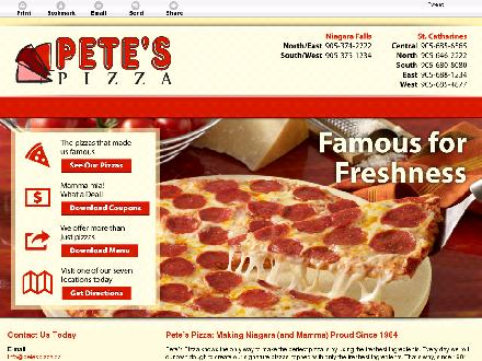 Pete's Pizza (905-685-4877) - Onglet de site Web - http://petespizzaniagara.com/
