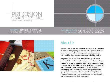 Precision Graphics Inc (604-873-2229) - Onglet de site Web - http://www.pgraphics.ca