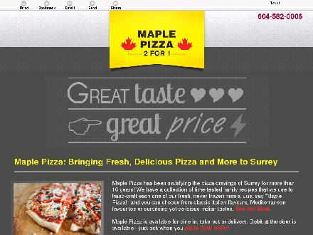 Maple Pizza (604-587-4203) - Website thumbnail - http://maplepizza.net