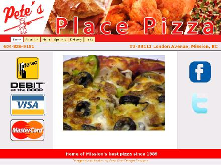 Pete's Place Ltd (604-826-9191) - Onglet de site Web - http://www.petesplacepizza.ca