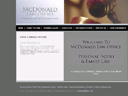 McDonald Law Office (204-927-3900) - Onglet de site Web - http://www.mcdonaldlaw.ca