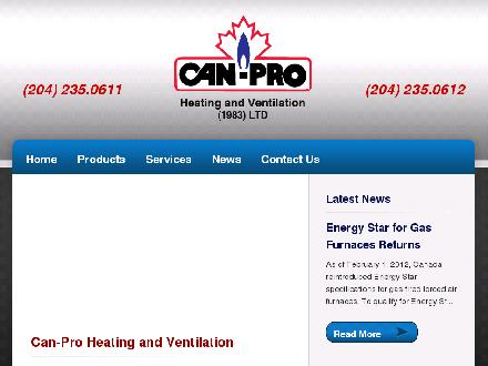 Can-Pro Heating & Ventilation (1983) Ltd (204-235-0611) - Onglet de site Web - http://www.canprohvac.com