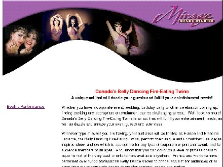 Belly Dancing Fire-Eating Twins (613-835-2836) - Onglet de site Web - http://www.miragedance.com