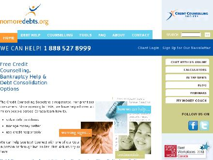 Credit Counselling Society (604-549-0209) - Onglet de site Web - http://www.nomoredebts.org