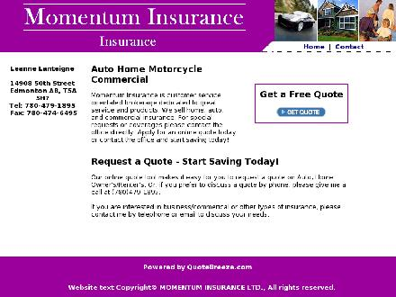 Momentum Insurance (780-479-1895) - Website thumbnail - http://momentuminsurance.net/
