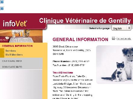 Clinique Vétérinaire De Gentilly (819-298-4162) - Website thumbnail - http://www.infovet.ca/gentilly