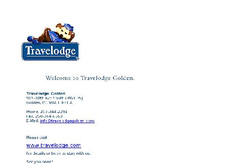 Travelodge (250-344-2291) - Onglet de site Web - http://www.travelodgegolden.com