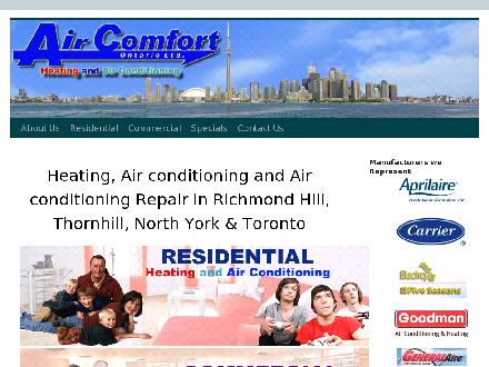 Air Comfort Ontario Ltd (905-731-3261) - Website thumbnail - http://WWW.AIRCOMFORT.CA